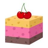 蛋糕樱桃 杯形蛋糕,果冻乳酪蛋糕 面包店,市场illu 免版税库存照片