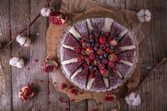 蛋糕火山 油腻的饼干用可可粉,嫩乳脂状的蛋白牛奶酥,在焦糖的樱桃 库存图片