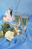 蛋糕玩偶玫瑰色婚礼 库存照片
