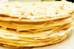 蛋糕甜点拿破仑 免版税库存照片