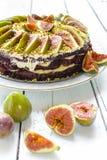 蛋糕用无花果 免版税库存图片