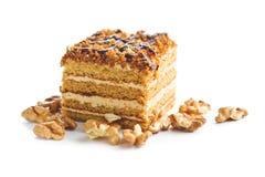 蛋糕用核桃和蜂蜜 库存图片