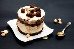 蛋糕用白色和黑暗的巧克力 免版税库存图片