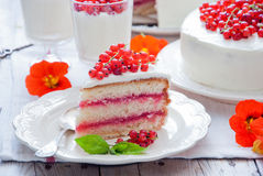 蛋糕用红浆果 免版税库存图片