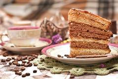 蛋糕用茶或咖啡 免版税库存图片