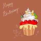 蛋糕的例证与生日快乐 库存图片