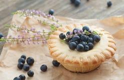 蛋糕篮子用蓝莓,选择聚焦 图库摄影