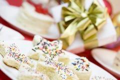 蛋糕结霜的部分洒 免版税库存图片
