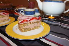 蛋糕美味的点心下午茶时间幻灯片  免版税图库摄影