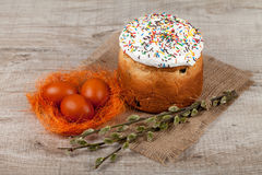 蛋糕色的复活节彩蛋 库存图片