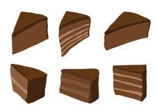蛋糕褐巧克力色在白色背景 库存例证