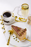 蛋糕香槟halva kaffe 库存照片