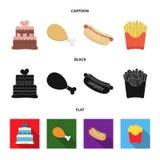 蛋糕,火腿,热狗,炸薯条 在动画片,黑色,平的样式传染媒介标志股票的快餐集合汇集象 向量例证