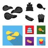 蛋糕,火腿,热狗,炸薯条 在黑,平的样式传染媒介标志股票例证网的快餐集合汇集象 皇族释放例证