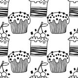 蛋糕,甜点心 彩图或页的黑白无缝的样式 库存图片
