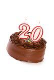 蛋糕:结块庆祝第20个生日 库存图片