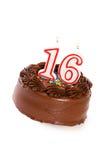 蛋糕:结块庆祝第16个生日 免版税库存图片