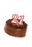 蛋糕:结块庆祝第21个生日 库存图片