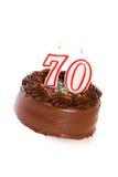 蛋糕:结块庆祝第70个生日 库存照片
