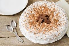 蛋糕给上釉与巧克力片 库存照片