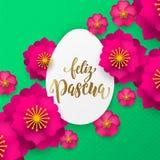 蛋纸切开了和复活节狩猎假日庆祝的花纹花样西班牙愉快的复活节贺卡  传染媒介papercut植物群 库存图片