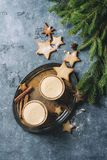 蛋黄乳圣诞节鸡尾酒 免版税库存照片