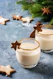 蛋黄乳圣诞节鸡尾酒 免版税库存图片