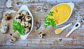 蛋黄奶油酸辣酱调味汁,法国烹调的一个基本的调味汁 图库摄影
