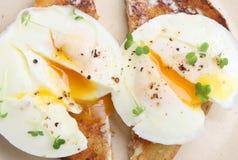 蛋水煮的多士二 图库摄影