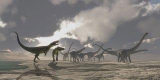 蛮龙和梁龙恐龙 免版税库存图片