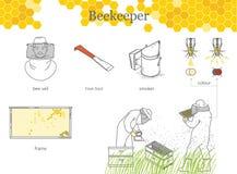 蜂农、一个男人和一名妇女防护套服的 养蜂业Infographics  库存例证