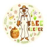 蜂农用蜂蜜 皇族释放例证