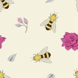 蜂和玫瑰无缝的样式 免版税库存照片