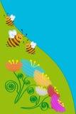 蜂和花。 免版税库存照片