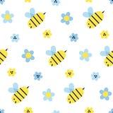 蜂和花无缝的样式 向量例证