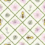 蜂和花无缝的样式 免版税库存图片