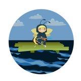 蜂在木筏冲程亚麻布的海 向量例证
