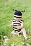 蜂服装的可爱的婴孩有户外花的 免版税图库摄影