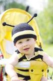 蜂服装的滑稽的婴孩在婴儿车 免版税库存图片