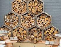 蜂窝六角形木刻 免版税库存照片