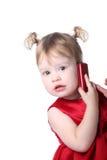蜂窝电话女孩 库存照片