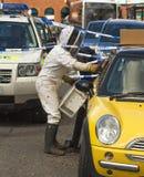 蜂群集在汽车上 免版税库存照片
