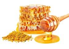 蜂花粉和蜂蜜 免版税库存图片