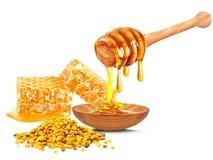蜂花粉和蜂蜜 免版税库存照片