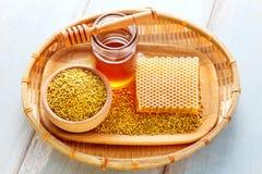 蜂蜂收集的花花粉 免版税图库摄影
