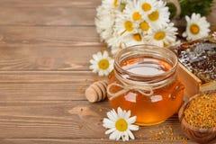 蜂蜜、春黄菊和花粉 免版税库存图片