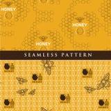 蜂蜜产品的集合无缝的样式 皇族释放例证