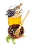 蜂蜜和淡紫色花 图库摄影