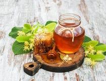 蜂蜜和菩提树花 免版税图库摄影