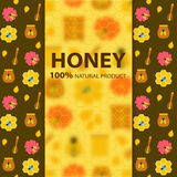 蜂蜜和蜂横幅 免版税库存照片